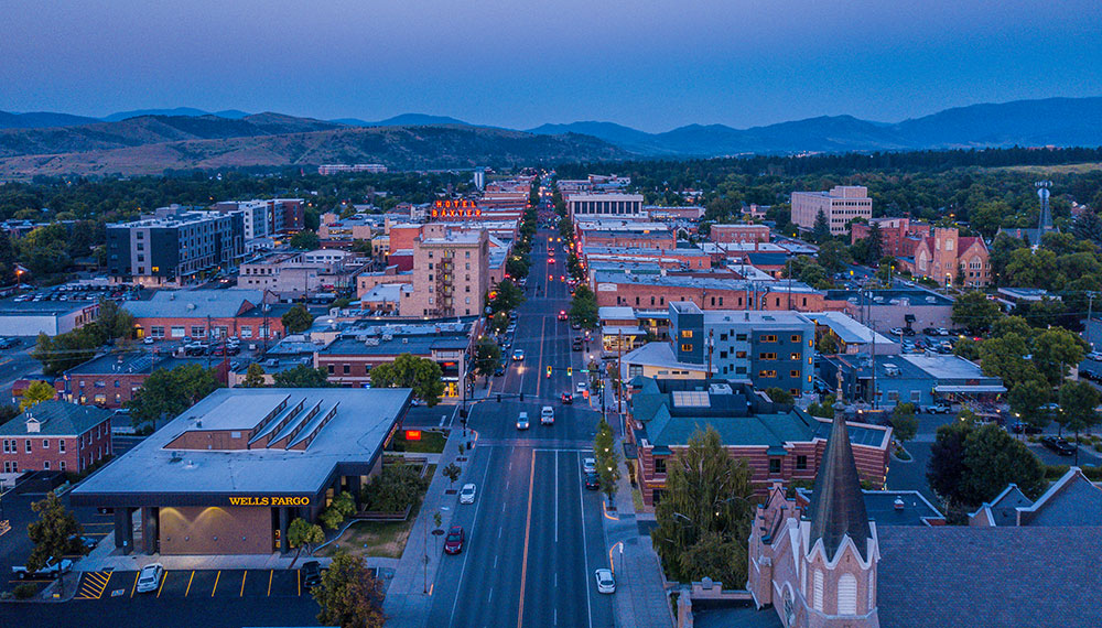 aerial view of Downtown Bozeman