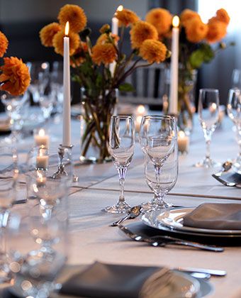 event space table set with flowers